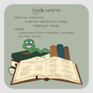 Bookworm - Change Color Square Sticker