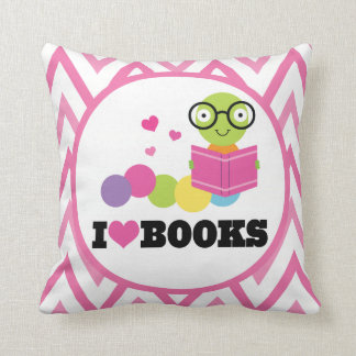 Bookworm Chevron Reading Throw Pillow
