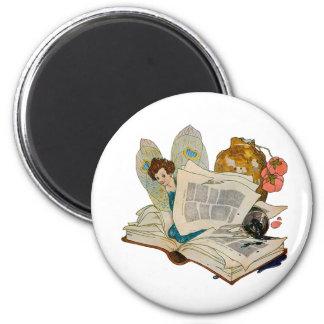 Bookworm Fairy 2 Inch Round Magnet