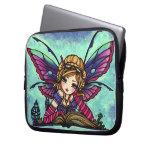 """Bookworm Fairy"" Fantasy Art Sleeve Hannah Lynn Laptop Computer Sleeves"