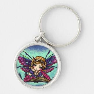 Bookworm Fairy Library Fantasy Art by Hannah Lynn Silver-Colored Round Keychain