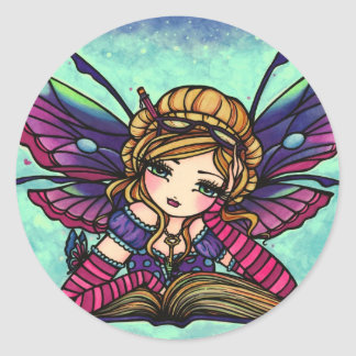 Bookworm Fairy Library Fantasy Art Stickers