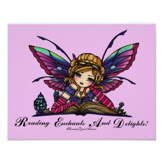 "Bookworm Fairy ""READ"" Library Fantasy Book Art Poster"