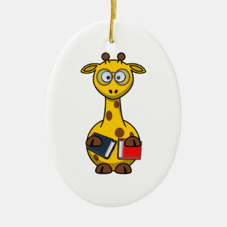 Bookworm Giraffe Art Ceramic Ornament