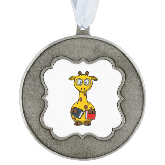 Bookworm Giraffe Art Pewter Ornament
