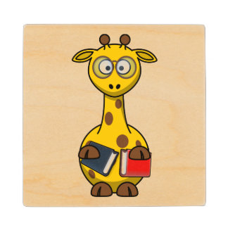 Bookworm Giraffe Art Wooden Coaster