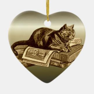 Bookworm Kitty Cat Reading Books Ceramic Ornament