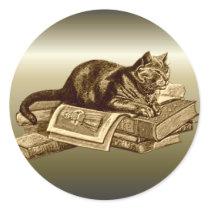 Bookworm Kitty Cat Reading Books Classic Round Sticker