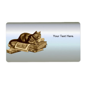 Bookworm Kitty Cat Reading Books Label