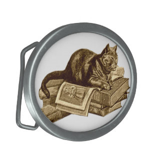 Bookworm Kitty Cat Reading Books Oval Belt Buckle