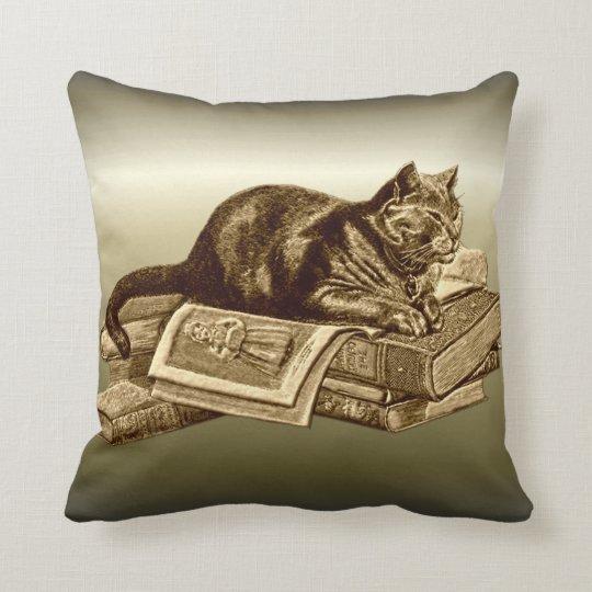 Bookworm Kitty Cat Reading Books Throw Pillow