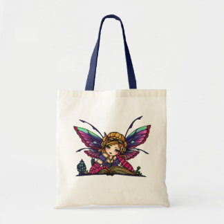 Bookworm Library Reading Book Fairy Fantasy Art Tote Bag