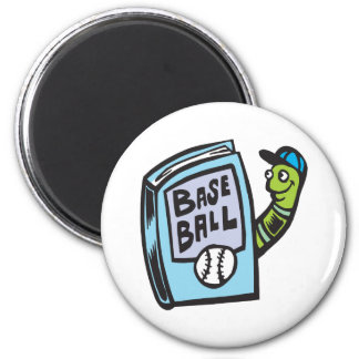 Bookworm Of Baseball 2 Inch Round Magnet