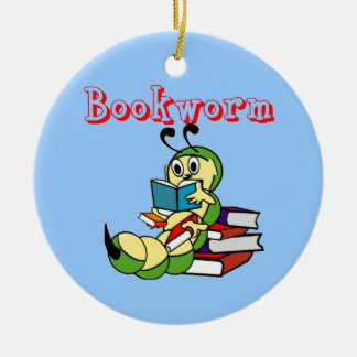 Bookworm Double-Sided Ceramic Round Christmas Ornament