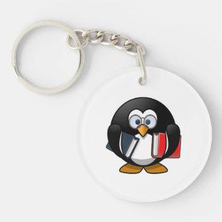 Bookworm Penguin Cute Cartoon Keychain
