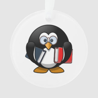 Bookworm Penguin Cute Cartoon Ornament