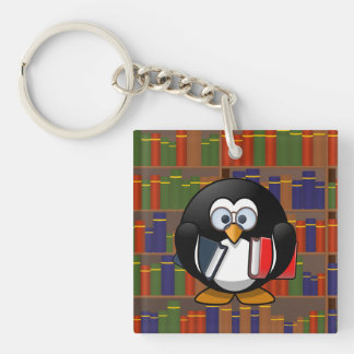 Bookworm Penguin In a Library Keychain
