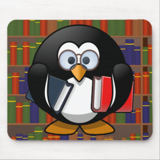 Bookworm Penguin In a Library Mouse Pad
