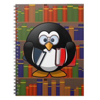 Bookworm Penguin In a Library Spiral Note Book
