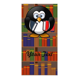 Bookworm Penguin In a Library Custom Photo Card