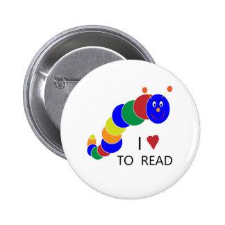 Bookworm Pinback Buttons