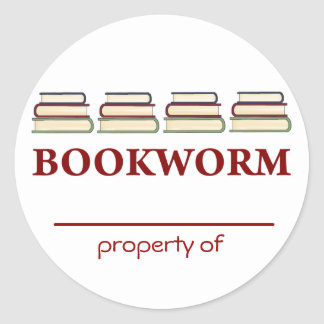 Bookworm Property Of Bookplates for Readers Classic Round Sticker