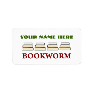 Bookworm Reading Bookplate Stickers Gifts