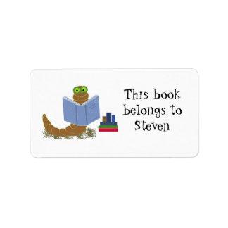 Bookworm Reading Books Label