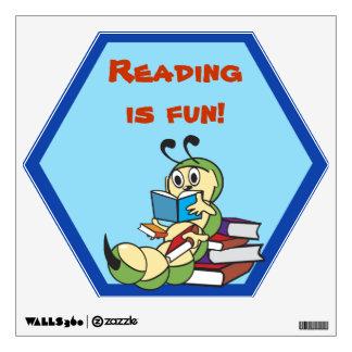 Bookworm Reading School Wall Decal