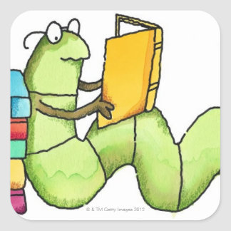 Bookworm Square Sticker