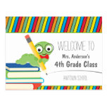 Bookworm Welcome Back To School colorful Postcard