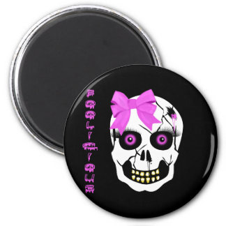 Boolicious Girl Scull 2 Inch Round Magnet