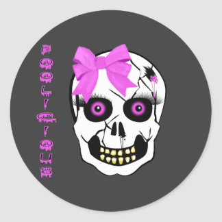 Boolicious Girl Scull Round Stickers