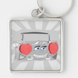 Boom Box 80's Silver-Colored Square Keychain