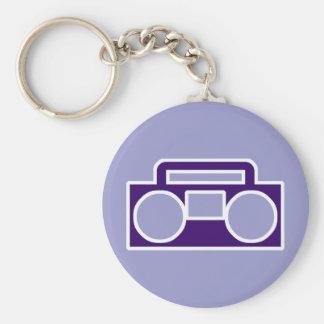Boom Box Basic Round Button Keychain