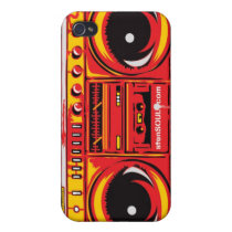 Boom Box EYEPhone 4 Case RED iphone cases