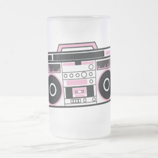 boom box frosted glass beer mug
