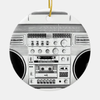 Boom Box Ghetto Blaster 80s 70s Cassette player Double-Sided Ceramic Round Christmas Ornament