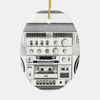 Boom Box Ghetto Blaster 80s 70s Cassette player Double-Sided Oval Ceramic Christmas Ornament