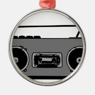 BOOM BOX RADIO CASSETTE PLAYER Silver-Colored ROUND DECORATION