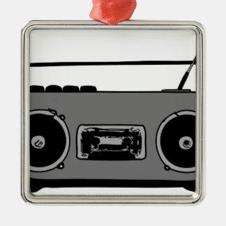 BOOM BOX RADIO CASSETTE PLAYER Silver-Colored SQUARE DECORATION