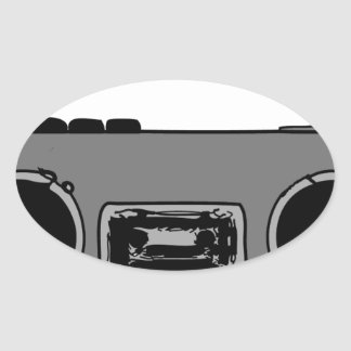 BOOM BOX RADIO CASSETTE PLAYER OVAL STICKERS
