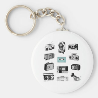 Boom Boxes & Retro Radios Basic Round Button Keychain