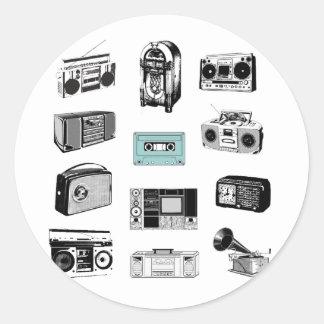 Boom Boxes & Retro Radios Round Sticker