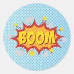 BOOM comic book sound effect Classic Round Sticker