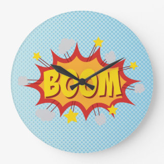 BOOM comic book sound effect Large Clock