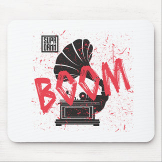 Boom Gramophone White Mouse Pad