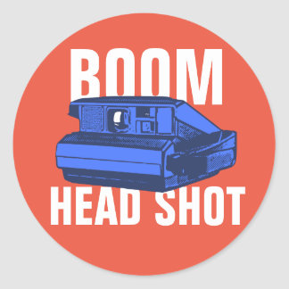 Boom Head Shot Classic Round Sticker