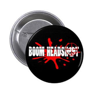 Boom   Headshot Pinback Button