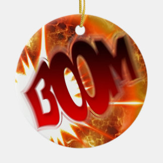 Boom! Double-Sided Ceramic Round Christmas Ornament